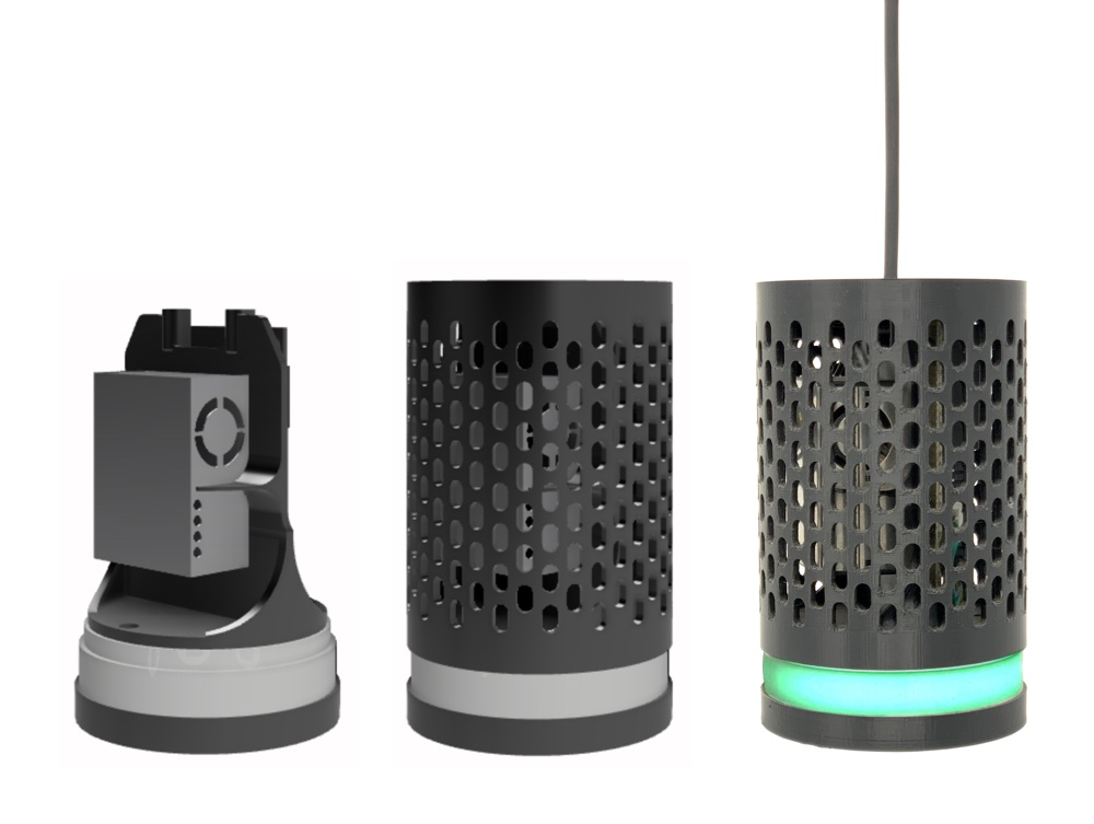 !Two CAD renders of the sensor next to a picture of the finished device